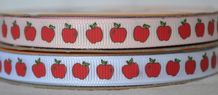 10mm RED APPLES GROSGRAIN RIBBONS